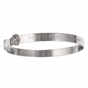 Sterling silver first diamond babies expanding Bangle 2.6g